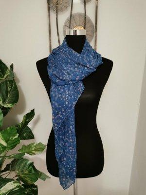 Damen Chiffon Schal Halstuch Blau mit Blumenmuster Onesize wie NEU