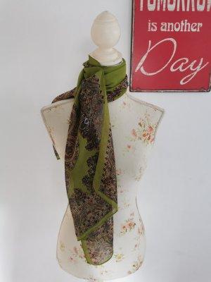 Damen Chiffon Schal Halstuch orientalisches Muster grün Onesize