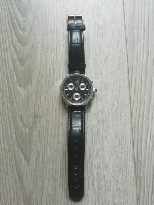 TCM Montre avec bracelet en cuir noir-argenté