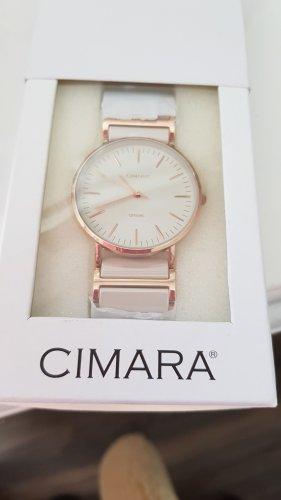 Montre avec bracelet métallique blanc-or rose