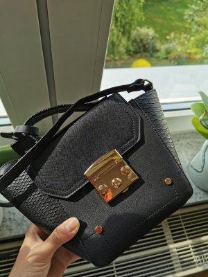 Damen Clutch/ Handtasche Klein schwarz Magnetverschluss Gold Details
