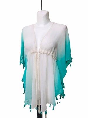 Kimono blouse wit-lichtgroen