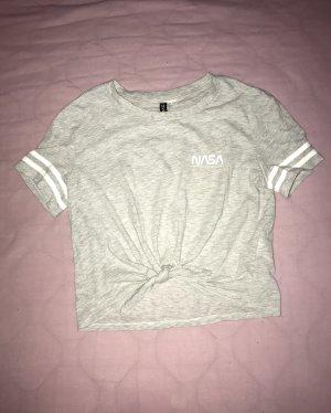 """Damen Crop Shirt Top T-Shirt zum binden """"NASA"""" grau von H&M Gr.S"""