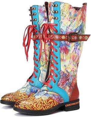 Aanrijg laarzen rood-blauw Leer