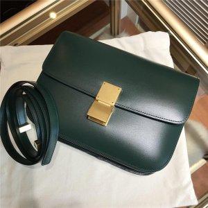 Damen Echtleder Tasche Hochwertige classic Box alike dunkel Grün Neu
