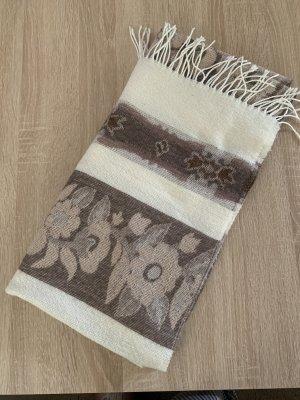 Unbekannte Marke Bufanda de flecos crema-marrón claro