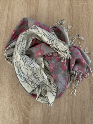 Unbekannte Marke Bufanda de flecos gris claro-rosa