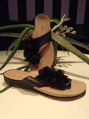 Flip flop sandalen zwart-lichtbruin