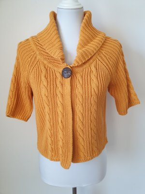 Qiero Short Sleeve Knitted Jacket gold orange-dark yellow cotton