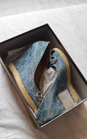 Gucci Sandały klinowe na obcasie jasnoniebieski-stalowy niebieski