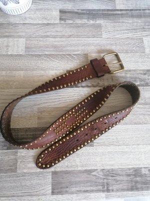 Ralph Lauren Cinturón de cuero color oro-marrón