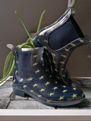 Tommy Hilfiger Wellington laarzen zandig bruin-donkerblauw