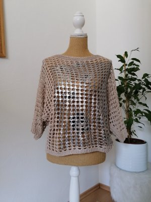 Made in Italy Pullover all'uncinetto argento-beige