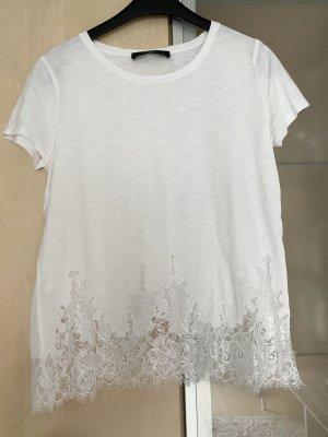 Damen Hallhuber Spitzen Shirt Weiß Gr M 38 wie Neu