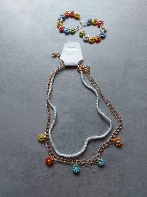 Damen Halskette mit Ohrringe als Set