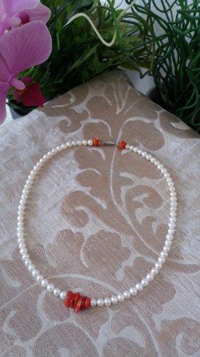 Damen Handmade Perlenkette mit Korallen