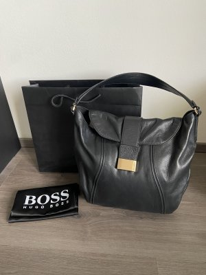 Hugo Boss Shoulder Bag black-gold-colored leather