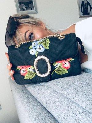 ⋙•-•-•-•➤Damen Handtasche in schwarz m. Blumen & Gold Detail Neu m. Etikett ◉