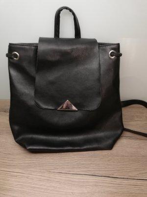 Damen Handtasche, Rucksack, schwarz, Kunstleder