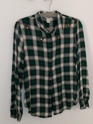 H&M Camicia da boscaiolo verde bosco-bianco Viscosa