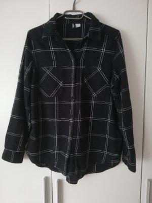 H&M Divided Flannel Shirt white-black