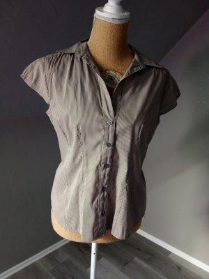 H&M Chemise à manches courtes gris brun-beige clair