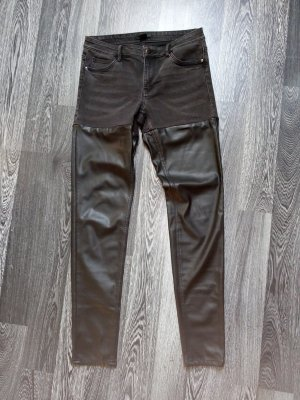 H&M Leather Trousers black-anthracite