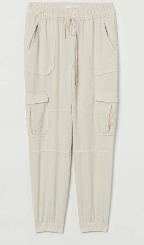 H&M Spodnie dresowe kremowy