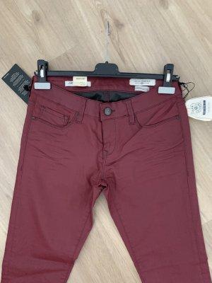Mavi Pantalone in pelle marrone-rosso