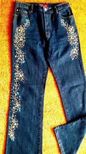 Damen Hose Stretch Jeans Strass-Steinen Gr.38 in Blau von RE & X