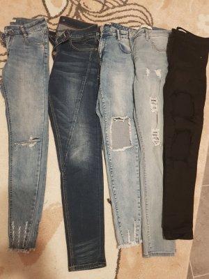100% Fashion Drainpipe Trousers white-black