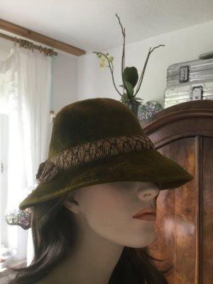 True Vintage Sombrero de fieltro ocre-verde oscuro
