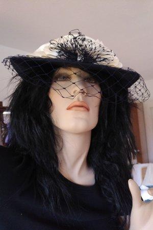 Unbekannte Marke Cappello parasole bianco sporco-blu scuro
