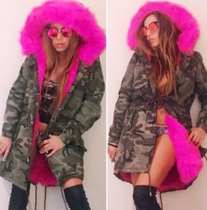 Damen Jacke Camouflage Parka Army-Look