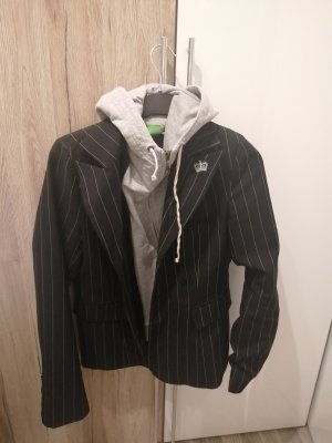 Bamboo Oversized Jacket black-silver-colored