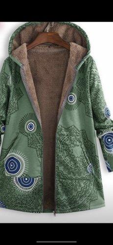 Cappotto con cappuccio menta-verde bosco
