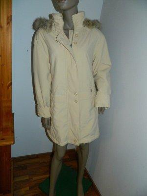 Długa kurtka kremowy Tkanina z mieszanych włókien