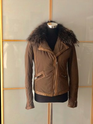 0039 Italy Fur Jacket ocher-grey brown fur