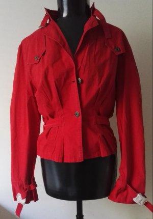 Damen Jacke Sommerjacke in Rot Washed Look mit Gürtel Gr.38/40 Neu