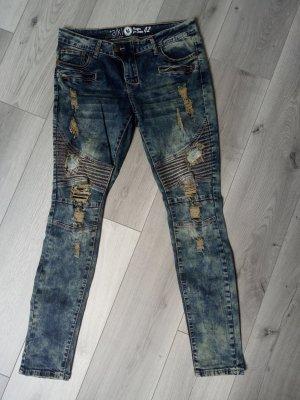 Aiki Jeans taille basse brun sable-bleu foncé