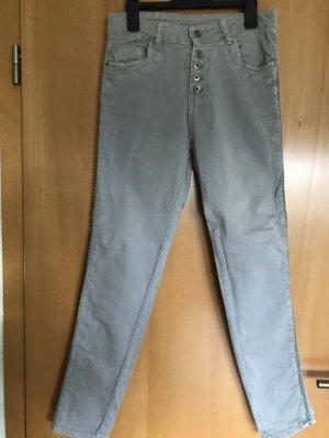 0039 Italy Jeans cigarette argenté coton