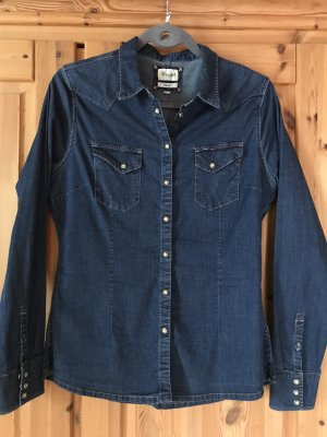 Wrangler Camicia denim blu acciaio-blu Cotone