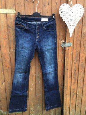 Damen Jeans Hose ESPRIT mit Echtleder Leder Gr. 40 W29/L32