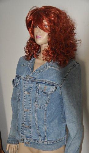 17&co Veste en jean bleu azur-marron clair coton