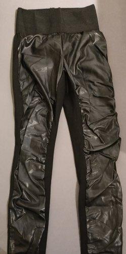 Pantalone in pelle nero Tessuto misto