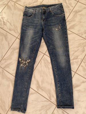Damen Jeans mit Strass Schmetterling