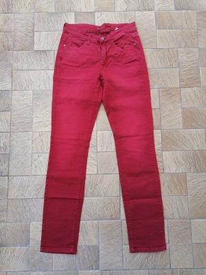 Cambio Jeansy z prostymi nogawkami ciemnoczerwony