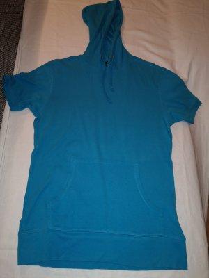 Shirt met capuchon neon blauw Katoen
