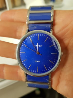 Analog Watch silver-colored-blue