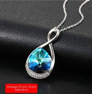 Damen-Kette mit Swarovski Kristall Blau Schmuck 925 Sterling Silber (NEU)